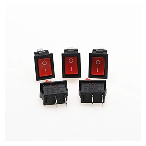 XINGYAO Interruptor Giratorio 5 unids kcd1 Interruptor de Rocker pulsador Mini Interruptor 6A-10A 250V KCD1-101 2pin Snap-in/Off 21 * 15mm Negro Negro Blanco (Color : Red)
