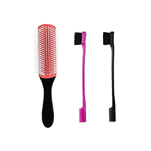 Maquillage Sourcils brosse double face peigne brosse à sourcils avec démêlant brosse à cheveux Beauté cosmétiques Outil 3Pcs