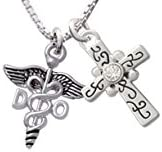 Delight Jewelry Doctor Caduceus Scroll Cross Necklace 18+2
