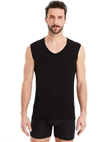 FINN Business Herren Unterhemd Ärmellos mit V-Ausschnitt Micro-Faser Tank-Top ohne Arm Männer Schwarz L