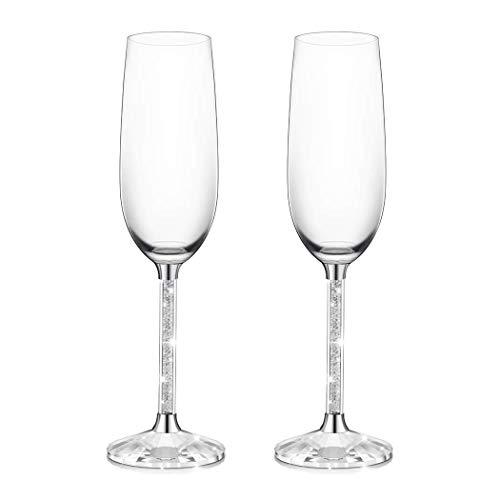 Erwei IFOLAINA Champagner-Gläser 2er-Set 8 Unzen Bleifreies Flöten-Stielglas mit langem Kristalldiamant-Stiel - Geburtstags-, Jubiläums- oder Hochzeitsgeschenke