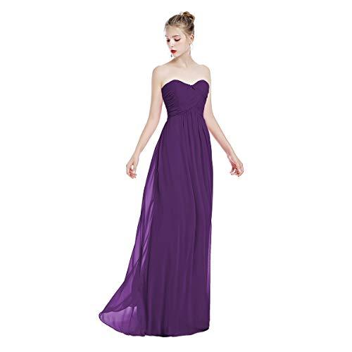 FYMNSI Damen Elegant Brautjungfer Hochzeit Kleid Herzform Trägerloses Chiffon Lange Abendkleider...