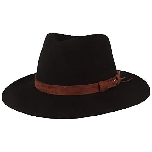 Sombrero enrollable de fieltro para exteriores, de 100 % lana, impermeable, plegable, con accesorios de piel y insertos para sombrero, para hombre y mujer Negro-Flecos 56