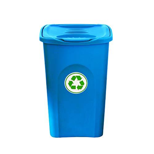 BigDean XL Mülleimer 50L groß - blau - mit Klappdeckel - Recycling-Abfalleimer Mülltonne Abfallbehälter Mülltrenner Abfallsammler - für Küche, Zimmer & Draußen