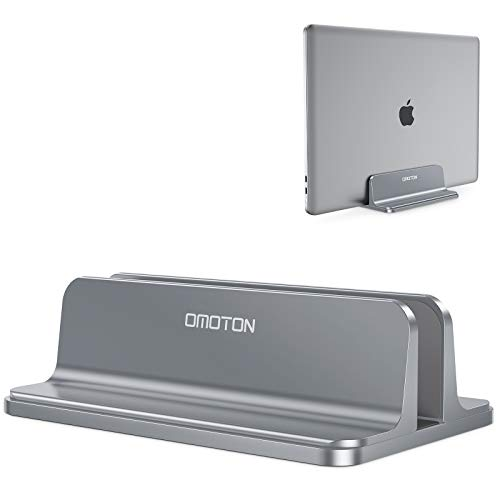 Vertical Laptop Stand Holder, OMOTON Desktop Aluminum MacBook Stand with Adjustable Dock Size, Fits All MacBook, Surface, Chromebook and Gaming Laptops (Up to 17.3 inches), Gray