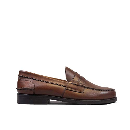 Saxone Of Scotland Penny Loafer Chestnut Leather / 41.5 / Chestnut