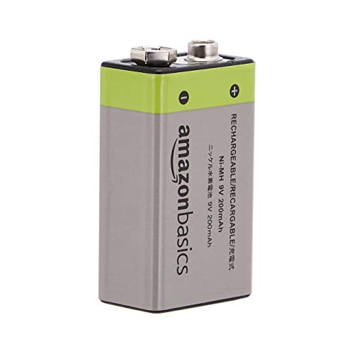 AmazonBasics 9V Cell Rechargeable Batteries 200mAh Ni-MH, Pre-charged - Pack of 4 (Appearance may vary)