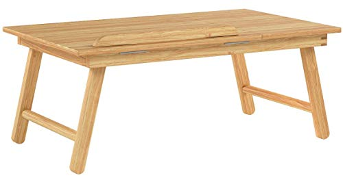 Relaxdays Bamboo Laptop Table Lapdesk + Storage Compartment + Adjustable Shelf Space, 55 x 33 x 24 cm