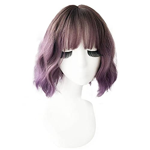 Parrucca corta riccia wavy parrucca naturale 17 pollici parrucca di gradiente con frangia per il partito di cosplay uso quotidiano viola