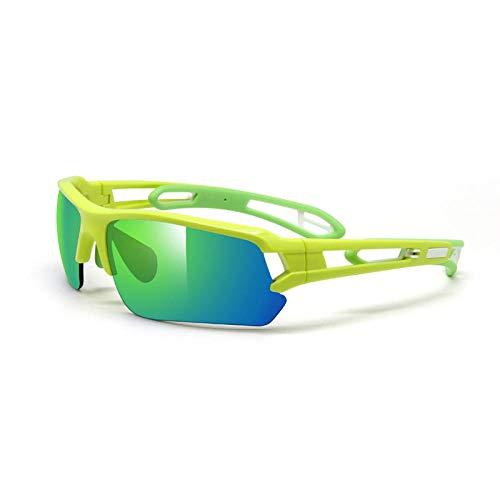 Huayuan Gafas de sol con lentes intercambiables para hombres, mujeres, PC, montura irrompible para ciclismo, correr, pescar, golf, béisbol, gafas, golf, gafas de béisbol, amarillo fluorescente