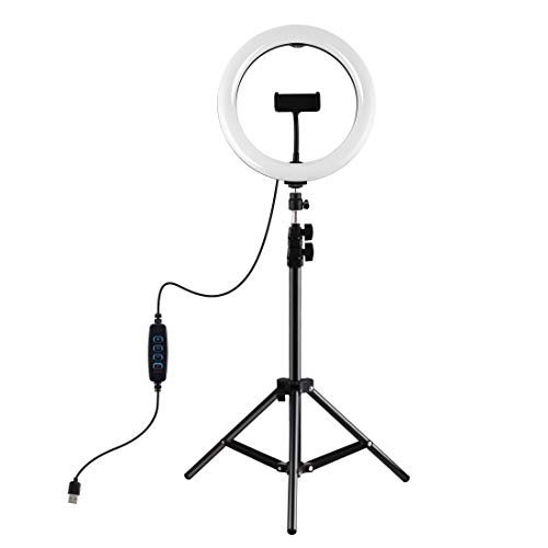 MSEI LED Selfie Ring Light with Adjustable Stand Photography Light with 1.1M Mobile Phone Holder for Live Streaming & YouTube Video, Dimmable Desk Makeup