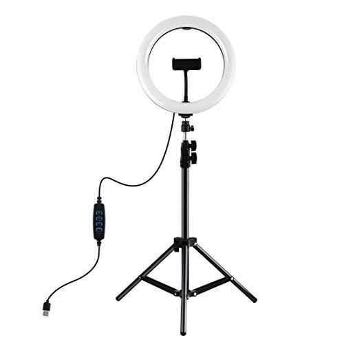 LMIITAM Anillo de luz ajustable con trípode de 1,1 m, luz LED para selfie de mesa, dispositivo de flash para smartphone, cámara, retrato de YouTube, grabación de vídeo