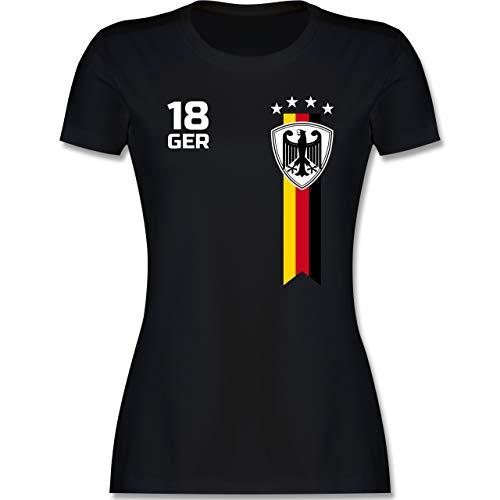 Fussball EM 2021 Fanartikel - EM Fan-Shirt Deutschland - S - Schwarz - Deutschland Shirt Damen - L191 - Tailliertes Tshirt für Damen und Frauen T-Shirt