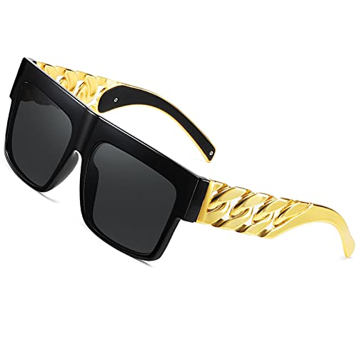 Mode Promi inspiriert Gold Metall Kette Kim Kardashian Beyonce Sonnenbrille Jahrgang Hip-Hop-Sonnenbrille