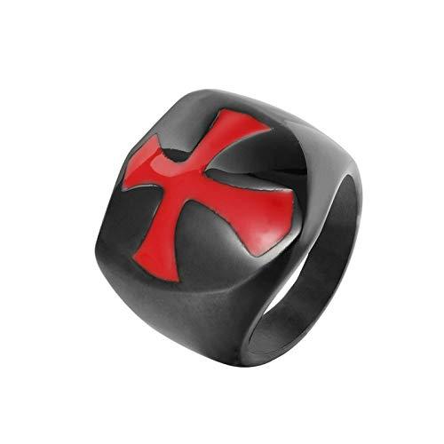 KnSam Anillo de hombre de plata de titanio para hombre con cruz negra y roja