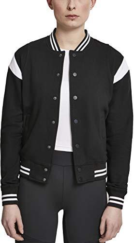 Urban Classics Ladies Inset College Sweat Jacket Felpa, Nero (Blk/Wht 00050), M Donna
