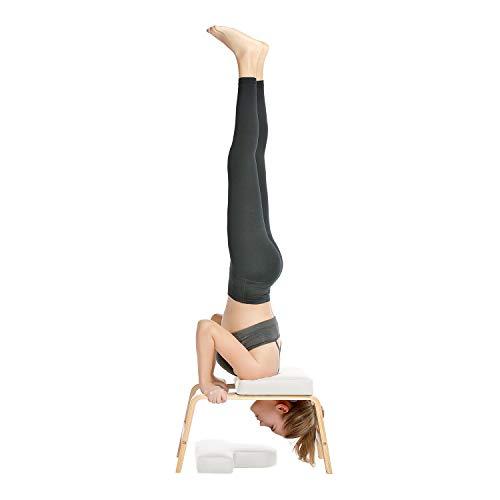 Restrial Life Yoga Headstand Bench- Silla de Yoga de pie para la Familia, el Gimnasio - Almohadillas de Madera y PU - Alivie la Fatiga y desarrolle el Cuerpo (Blanco)