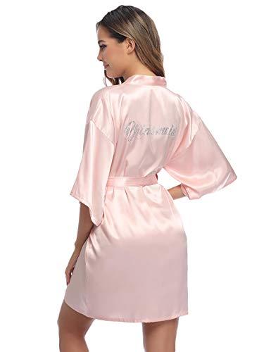 Abollria dames ochtendjas satijn kimono korte bruid robe huwelijk roben V-hals badjas bruidsmeisjes bruidsdouche dames geschenk wellness vrijgezellenfeest