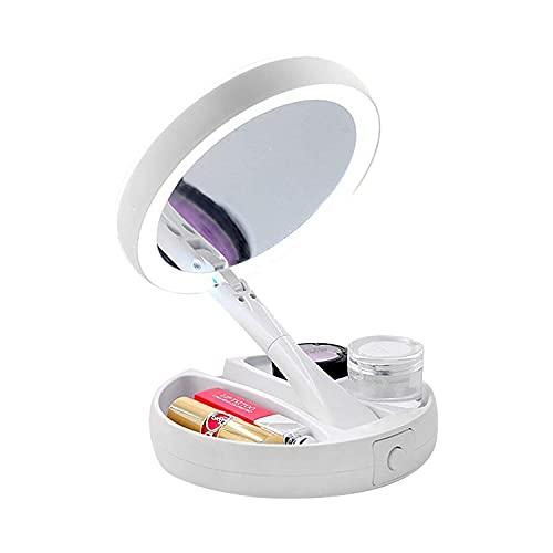 Delge Doble Cara Con Espejo Maquillaje con Luz, Espejo de Tocador de Aumento 1x / 10x Que Se Puede Girar 360 °, 8 Pulgadas, Espejo de Iluminación de Viaje Plegable con USB o Carga de Batería, Blanco