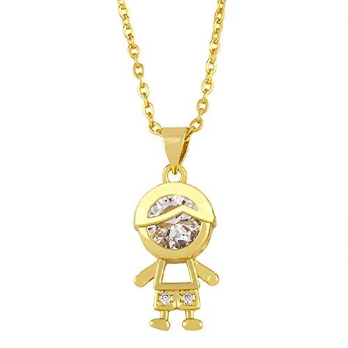 Focisa Collar Colgante Cadena Collares Hombre Mujer Collar De Oro para Niños Y Niñas, Collar De Cadena con Colgante para Mujeres, Collar De Cristal De La Amistad, Joyería De Circonita Cúb