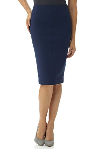 Rekucci Women's Ease in to Comfort Pull-On Knit High Waist Midi Pencil Skirt (Small,Navy)