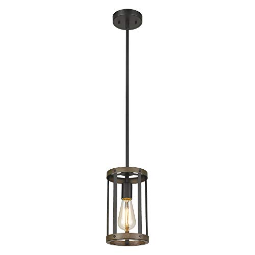 Eapudun Farmhouse Pendant Light, 1-Light Industrial Metal Wire Cage Hanging Lantern Ceiling Light Fixture for Kitchen Island Restaurant, Matte Black and Wooden Finish, PDA1141-FBDT-NEW