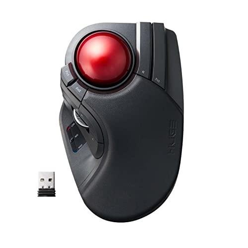 ELECOM 2,4 GHz kabellose Fingerbedienung, große Trackball-Maus, 8-Tasten-Funktion mit glatter Tracking, präziser optischer Gaming-Sensor, Handballenauflage (M-HT1DRBK)