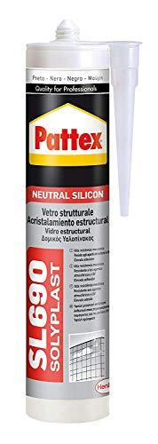 Pattex SL650, silicona neutra para ventanas y juntas, color negro, 300 ml