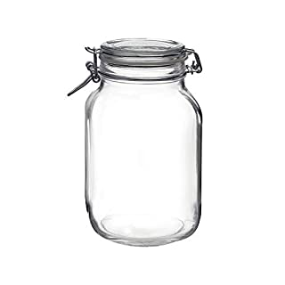 Bormioli Rocco Clear Fido 67.75 oz. Glass Storage Jar: Airtight Lid With Leak Proof Gasket, Wide Mouth Kitchen Food Container - For Zero Waste Air Tight Preserving Jam, Spices, Coffee, Sugar & Herbs (B0001BMYHA) | Amazon price tracker / tracking, Amazon price history charts, Amazon price watches, Amazon price drop alerts