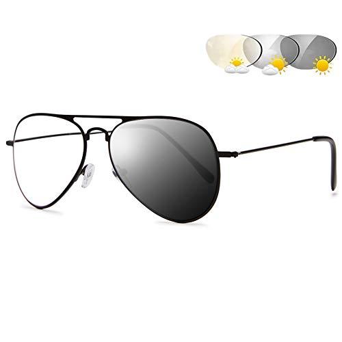 VEVESMUNDO Photochrome Lesebrillen Herren Damen Metall Sonnenlesebrille Bifokal Progressive Multifokale Blaulichtfilter Gleitsichtbrille für 100% UVA UVB Schutz mit Etui