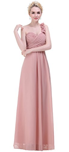 esvor Flower One Shoulder Empire Waist Prom Long Bridesmaid Dress Blush 8
