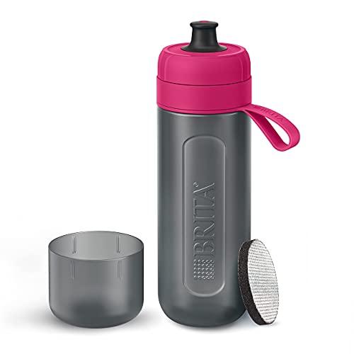 Botella filtrante BRITA Active Rosa - Filtro Tecnología MicroDisc, Óptimo sabor para disfrutar en cualquier lugar, Botella de Agua sin BPA, 0.6 litros