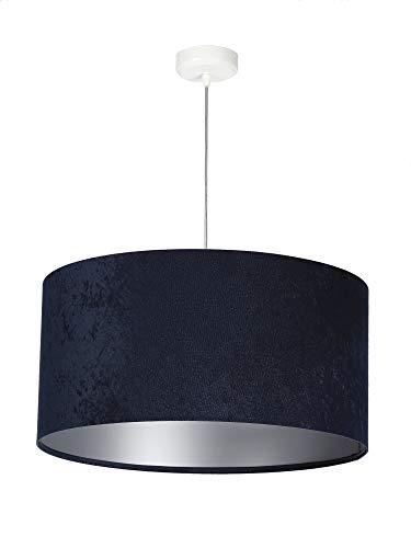 Stoff Hängeleuchte SELENA Blau Silber in Velours Optik Ø50cm runde Pendelleuchte Schlafzimmerlampe