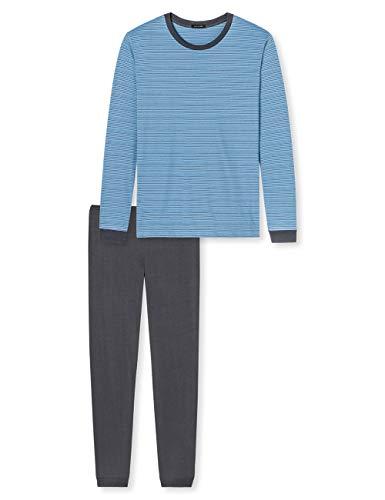 Schiesser Herren lang Zweiteiliger Schlafanzug, Blau (Hellblau 805), Large (52)