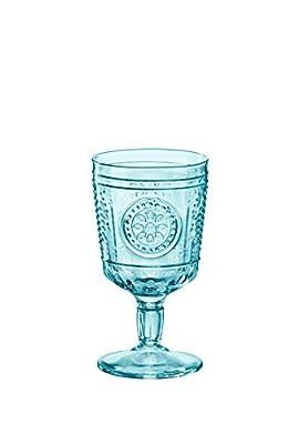 Bormioli Rocco Romantic Stemware Glass, Set of 4, 10.75 oz, Light Blue