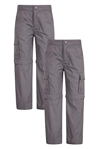 Mountain Warehouse Active Kids Convertible Trousers Shrink Fade Resistant Childrens Trousers Fast Dry Trousers Zip Off Casual Bottoms for Camping Travelling Dark Grey 9 10 Years