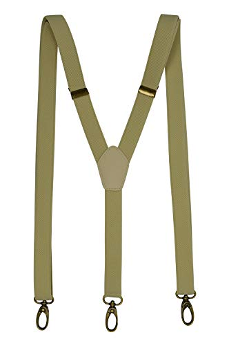 Olata Hosenträger Y-Form mit Karabinerhaken aus Messing - Modell 'Skinny' 2cm. Hellcreme