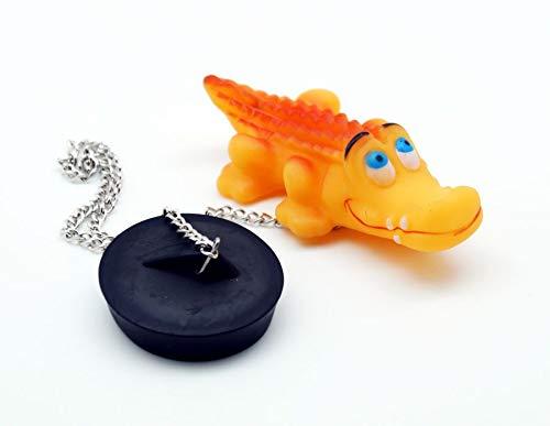 TRI Kottmann Wannenstöpsel Krokodil mit Kette 40cm Abflussstöpsel Stöpsel Abfluss Wannenstöpsel Badewannenstöpsel