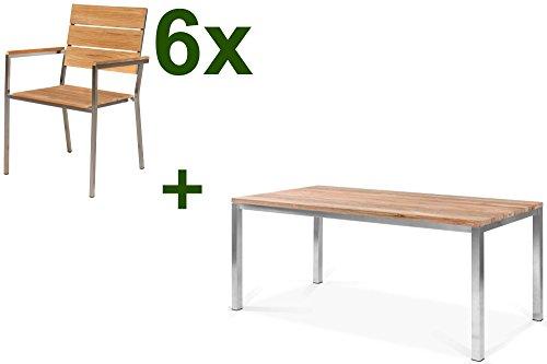 OUTFLEXX Tischgruppe mit 6 Stapel-Stühlen in Natur, Gartengarnitur aus Edelstahl Metall, Sitzgruppe mit Teak-Holz, Esstisch-Gruppe ca. 180x90 cm