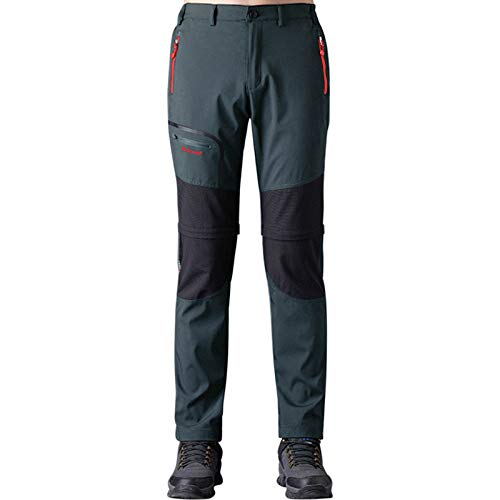 Pantaloni Trekking Uomo Asciugatura Rapida Traspiranti Impermeabile Softshell Zip off Pantaloni da Montagna Arrampicata Escursionismo Outdoor (Grigio-2, Medium)