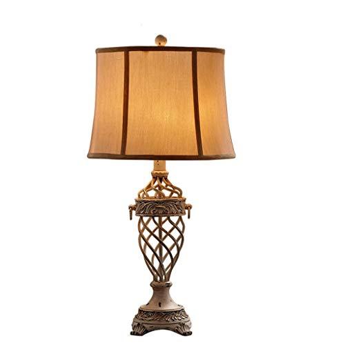 HJY Home Einfachheit Beige Iron Art Tischlampe Amerikanischer Stil Industriestil Retro Wohnzimmer Schlafzimmer Nachttisch Licht Schnitzharz Villa Kreative Schreibtischlampe