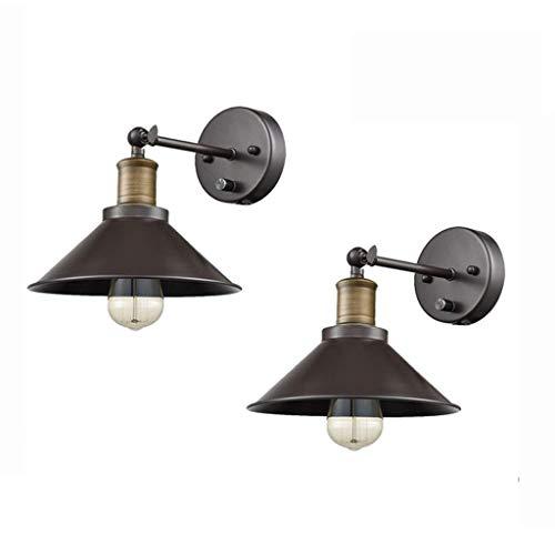 Qinmo Eisen Retro Industrie kreative Wohnzimmer Wandleuchte Esszimmer Schlafzimmer Studie Korridor Hotel Nachtwand lamp1 Licht-Wand-Lampen-2-Pack (Size : Hardwired)