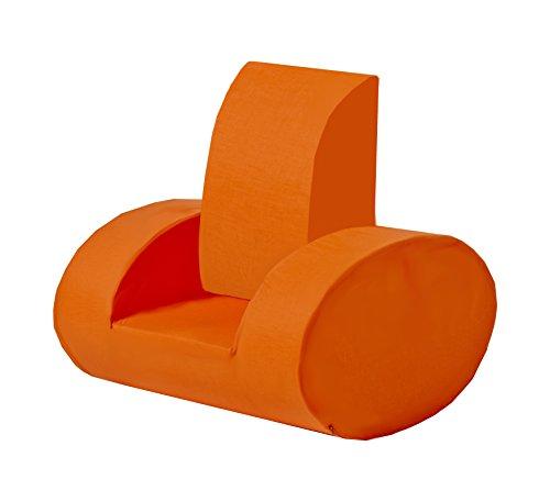 Hoppe Kids Flower Power Mousse Ellipse Chaise avec accoudoirs, 100% Coton certifié Ökotex, Plastique, Orange, 60 x 35 x 58 cm