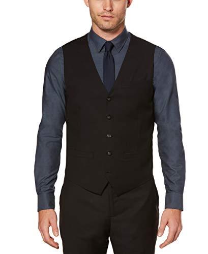 Perry Ellis Men's Solid Vest, Black, X-Large