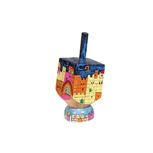 Jerusalem and Kotel Hand Painted Small Wooden Dreidel and matching Stand by Yair Emanuel