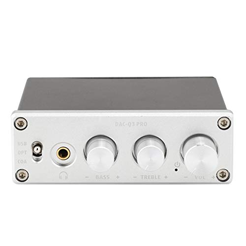 Mugast audiodecoder met hoge overdrachtssnelheid USB DC5V1A DAC-decoder met hoofdtelefoonversterker voor 3,5 mm koptelefoon, zilver