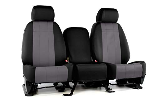 Front Seats: ShearComfort Custom Neoprene-Style Seat Covers for Dodge Ram Pickup 2500-5500 HD (2013-2020) in Black w/Charcoal for 40/20/40 w/Center Under Seat Cushion Storage and Folddown 3 Cup.
