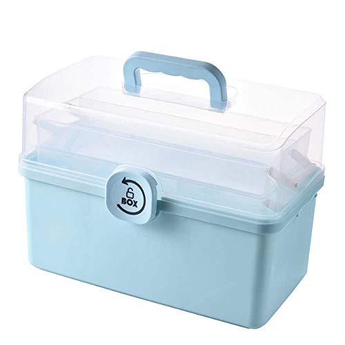 Lecez Gabinete de Medicina de Gran Capacidad para el hogar, un Conjunto Completo de Cajas de Almacenamiento médico de Emergencia pequeñas y Grandes, a Prueba de Polvo, Blanco, Azul, 29x16x16cm