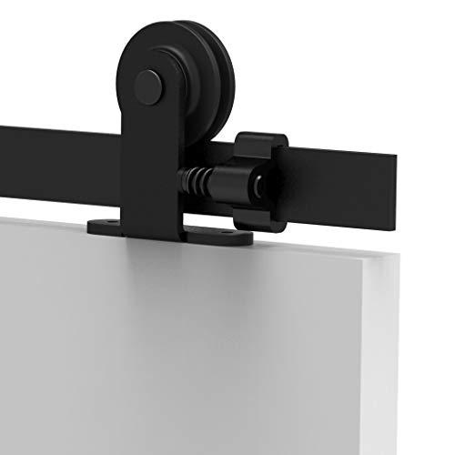 TSMST 8FT/242cm Herraje para Puerta Corredera Kit de Accesorios para Puertas Correderas Granero de Riel Negro, Sistema de Puerta Corredera de Negro para Puerta de Madera Individual-T Estilo