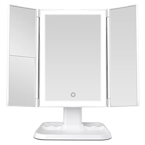 Makeup Mirror Vanity Mirror with Lights - 72 LED Trifold Mirror 3 Color Lighting Modes , Touch Control Design, 1x/2x/3x Magnification, Portable High Definition Cosmetic Lighted Up Mirror